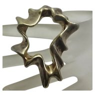 Large Sterling Silver Signed Modernist Abstract Pin Pendant Electroform