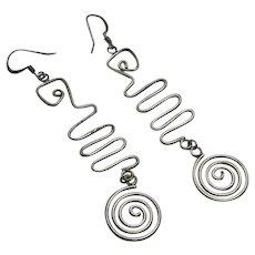 Long Sterling Silver Artisan Modernist Earrings