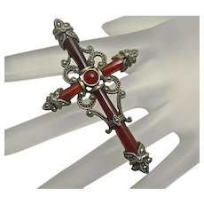 Large Vintage Sterling Silver Marcasite Carnelian Cross Pendant Pin