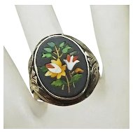 Antique Art Nouveau Sterling Silver Pietra Dura Mosiac Ring