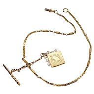 Antique Gold Plated Fancy Bacon & Bates Watch Chain with 9 Kt Fob Locket Charm