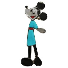 Large Minnie Mouse Disney Zuni Indian Inlaid Stone Sterling Silver Pin Pendant Rare