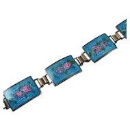 Vintage Sterling Silver Enamel Aqua Blue Pink Flower Bracelet