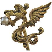 Antique Art Nouveau 14K Gold Winged Dragon Griffin  Seed Pearl Stick Pin