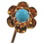 Antique  10K Gold Turquoise Flower Stick Pin