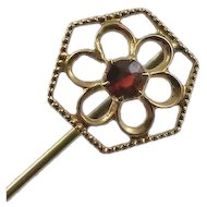 Antique 10K Gold Garnet Flower Stick Pin