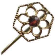 Antique 10K Gold Garnet Flower Stick Pin