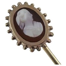 Antique Carved Cameo Etruscan Stick Pin