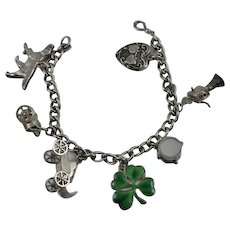 Vintage Sterling Silver Walter Lampl Charm Bracelet Mechanical Moving Charms Puffy Heart Guilloche Enamel Shamrock
