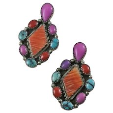 Large Colorful Vintage Indian Sterling Silver Turquoise Coral Pink Stone Earrings