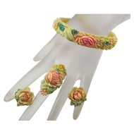 Vintage Painted Celluloid Pastel Flower Floral Set Bracelet Ring Earrings Made in Japan Japanese