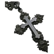 Large Antique Victorian Mourning Floral Flower Gutta Percha  Cross Necklace