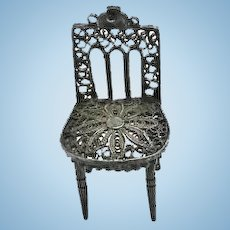 Antique Miniature Sterling Silver Filigree Dollhouse Doll Chair