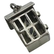 Vintage Early  Sterling Silver Prisoner Inside Jail Cell Enamel Moving Charm