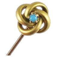 Antique Victorian 10k Gold Love Knot Turquoise Stick Pin