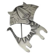 Sterling Silver Abstract Tiger Cat Figural Pin Abstract Signed and Numbered