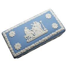 Wedgwood Jasperware Blue Trinket Box Cherubs