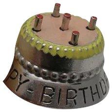 Vintage Sterling Silver Enamel Birthday Cake Charm Happy Birthday to You Mechanical Moving