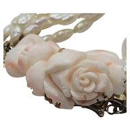Vintage Carved Flower Angel Skin Coral Fresh Water Pearl Necklace and Bracelet Set