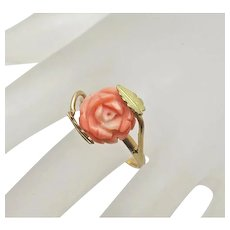 Vintage 18k Yellow Gold Carved Angel Skin Coral Rose Flower Ring Size 6 1/2 Italian