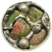 Vintage Mid-Century Danish Sterling Silver Unakite Abstract  Modernist Ring  Size  7 Denmark Hand Made