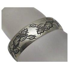 Vintage Sterling Silver Rose Flower Cuff Bracelet