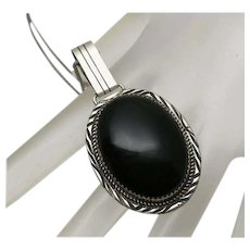 Native American Black Onyx Sterling Silver Necklace