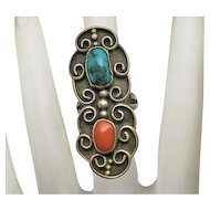 Vintage Long Face Native American Indian Sterling Silver Turquoise Coral Ring Size 4 1/2 Artist Signed