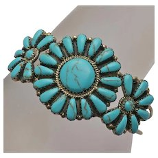 Sterling Silver Native American Indian Turquoise Petit Point Flower Cluster Bracelet