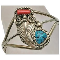 Native American Indian Coral and Turquoise Sterling Silver Cuff Bracelet Navajo