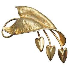 Vintage  Elephant Ears Colocasia Sterling Silver Gold Wash Napier Fur Clip