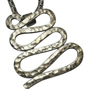 Vintage Abstract Snake Sterling Silver Mexican Pendant With Bali Chain