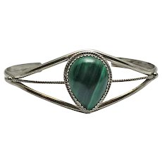 Pat Yazzie Navajo Indian Sterling Silver and Malachite Cuff Bracelet
