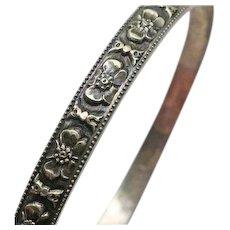 Vintage Solid Flower Bangle Bracelet Sterling Silver  Floral Design