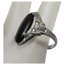 Vintage Art Deco Rhodium Plate Marcasite Ring Black  Stone Size 8 1/2