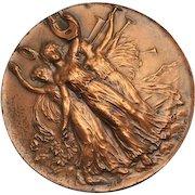 Antique 3 Graced Copper French Music Fete Federale Musique Coin 1906 For Pendant