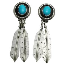 Long Native American Indian Sterling Silver Turquoise Shadow Box Hand Crafted Feather Clip On Back Earrings