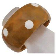Wide Vintage Polka Dot  Marble Bakelite Bangle Bracelet SALE