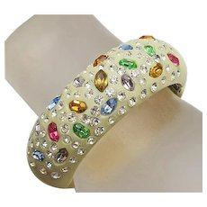 Vintage Unsigned Weiss Thermoplastic Clamper Bracelet  Colorful Rhinestones