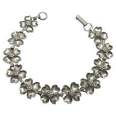 Vintage Beau Link Bracelet  Sterling Silver Dogwood Blossoms