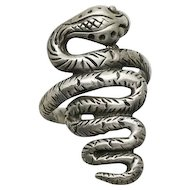 Long Vintage Sterling Silver Snake Ring  Size 6 and 1/2