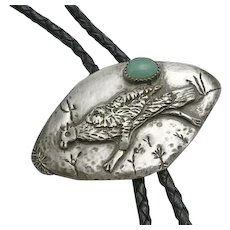 Vintage Native American Indian Turquoise Sterling Silver  Hand Made Bolo Tie Grouse Bird Unique Tips
