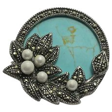 Vintage Sterling Silver Marcasite Leaf Berry Turquoise Pin Brooch