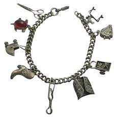 Vintage Sterling Silver  Charm Bracelet with Older Charms 1940s, Moving