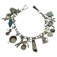 Vintage Sterling Silver  Charm Bracelet with Older Charms 1940s, Moving Enamel Mexican