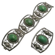 Vintage Mexican Sterling Silver Bracelet Pin Set Green Stone 1940s