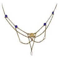 Victorian Antique Gold Filled Festoon Necklace Blue Glass Stones and Fresh Water Pearls