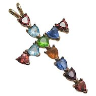Lenox Sterling Siver Gemstone Cross Heart Necklace Pendant Colorful