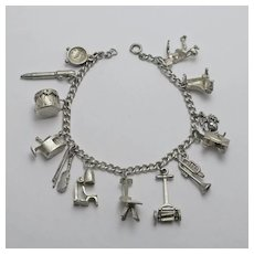 Vintage Older Charm Bracelet Sterling Silver Mechanical Moving Charms 13 Charms