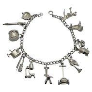 Vintage Older Charm Bracelet Sterling Silver Mechanical Moving Charms 13 Charms SALE